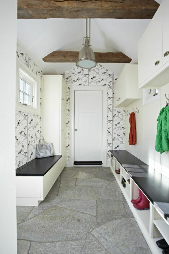 mueble entrada recibidor grande lardo papel pintado con flores suelo de piedra - Papel Pintado Recibidor