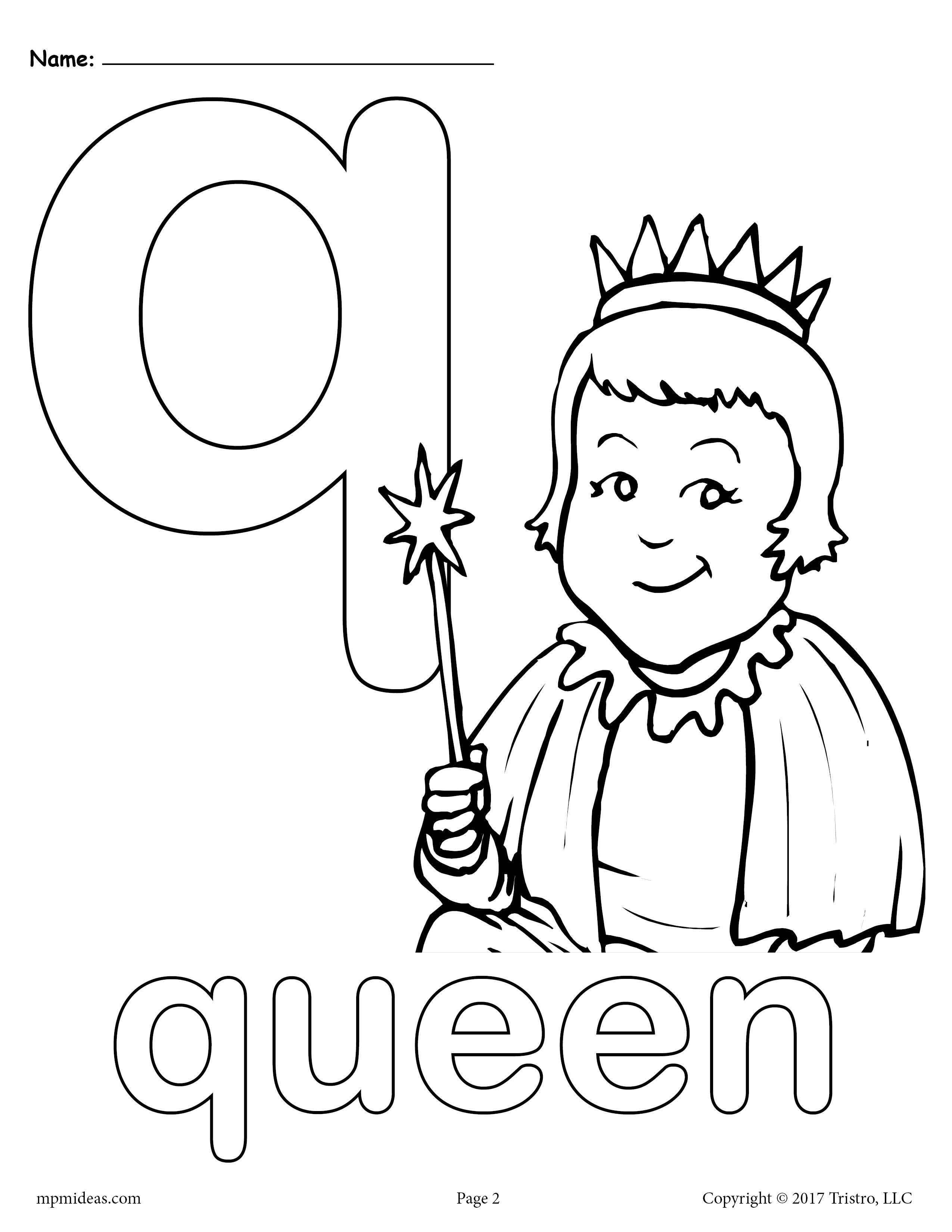 Letter Q Alphabet Coloring Pages 3 Printable Versions In 2021 Letter A Coloring Pages Alphabet Coloring Pages Alphabet Coloring
