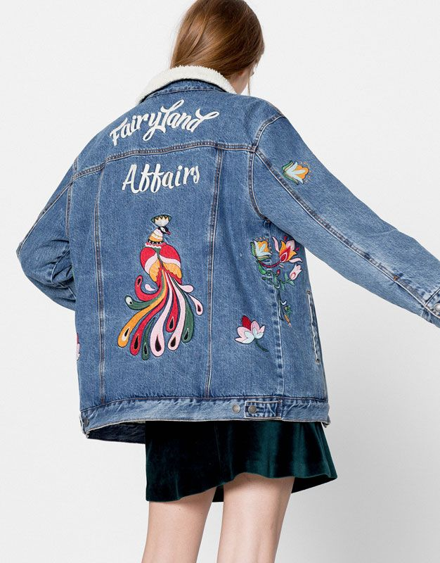 cfe483849a53 Denim jacket with embroidery on the back