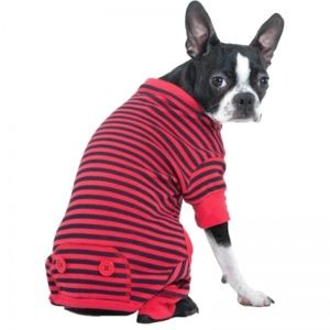 Fashion Pet Striped Pajamas - Red  available at #petm