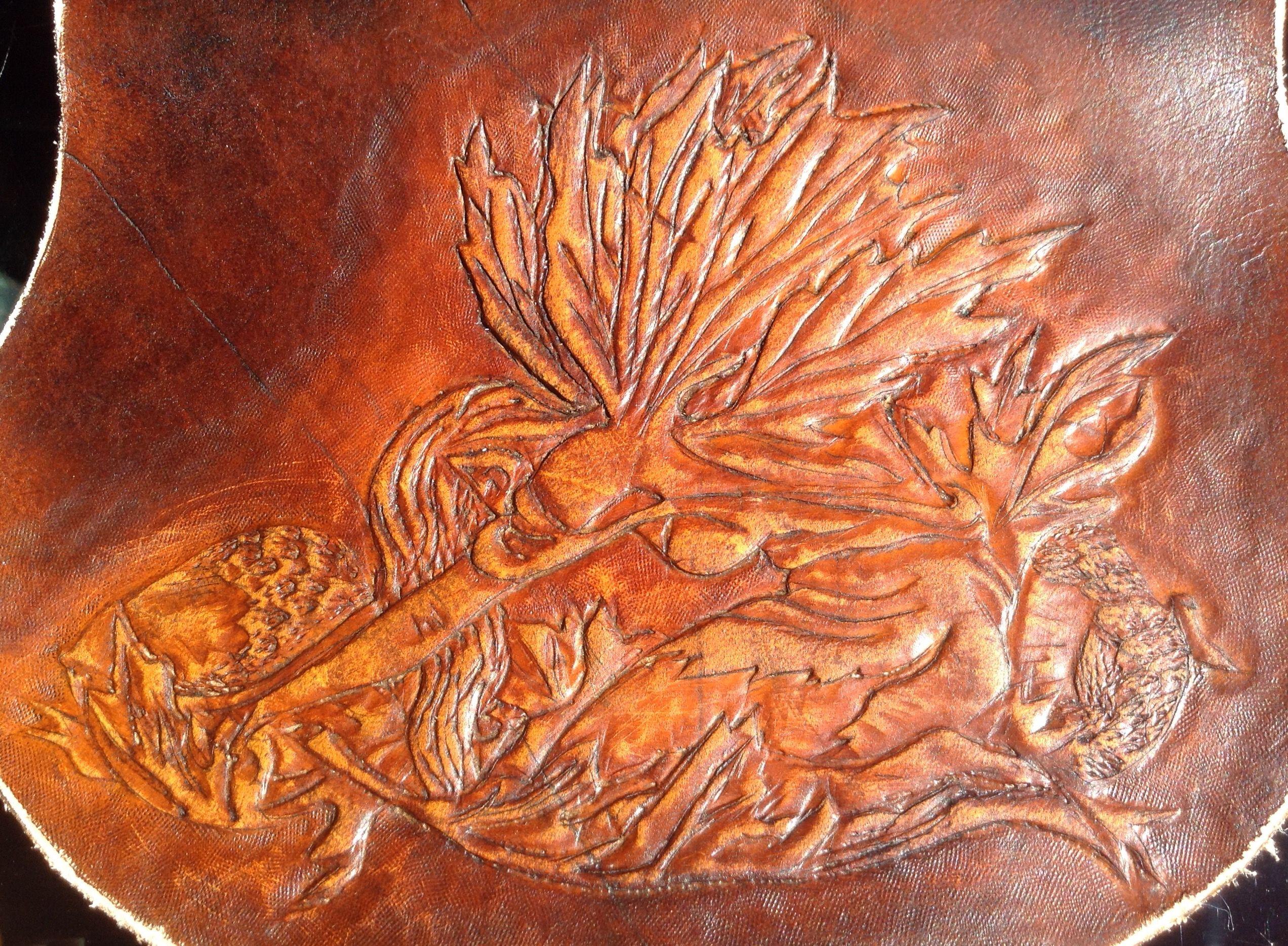 Oak fairy tooled leather