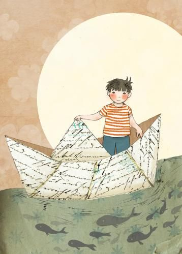 Paper boat adventure illustration by Amber Cassidy