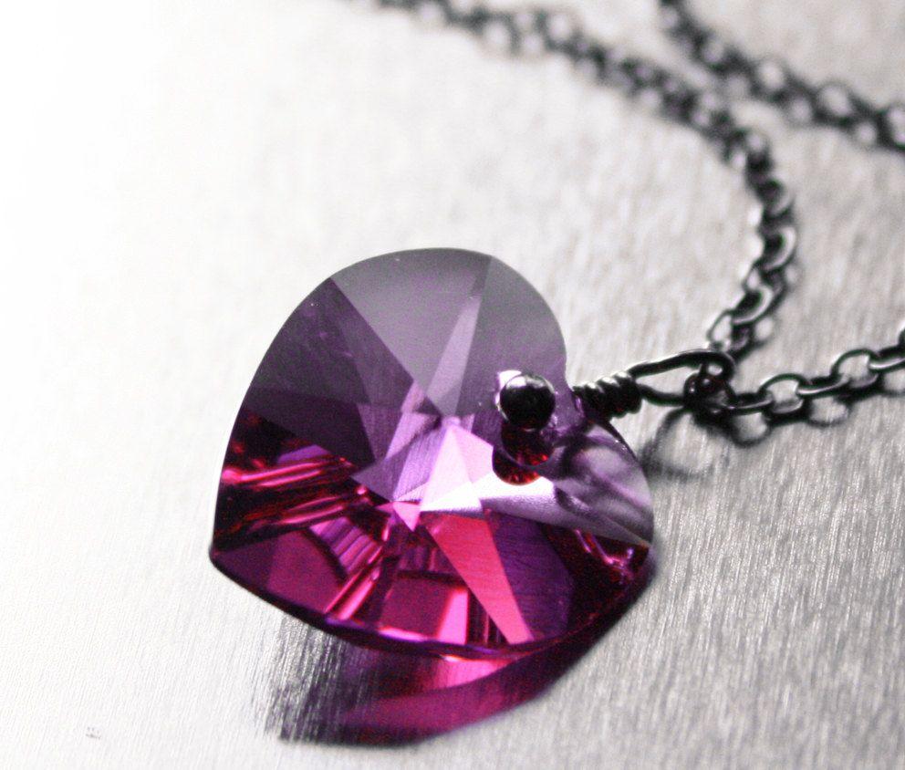 Deep Pink Heart Necklace Sterling Silver Swarovski Crystal Oxidized Magenta Fuchsia Hot Pink