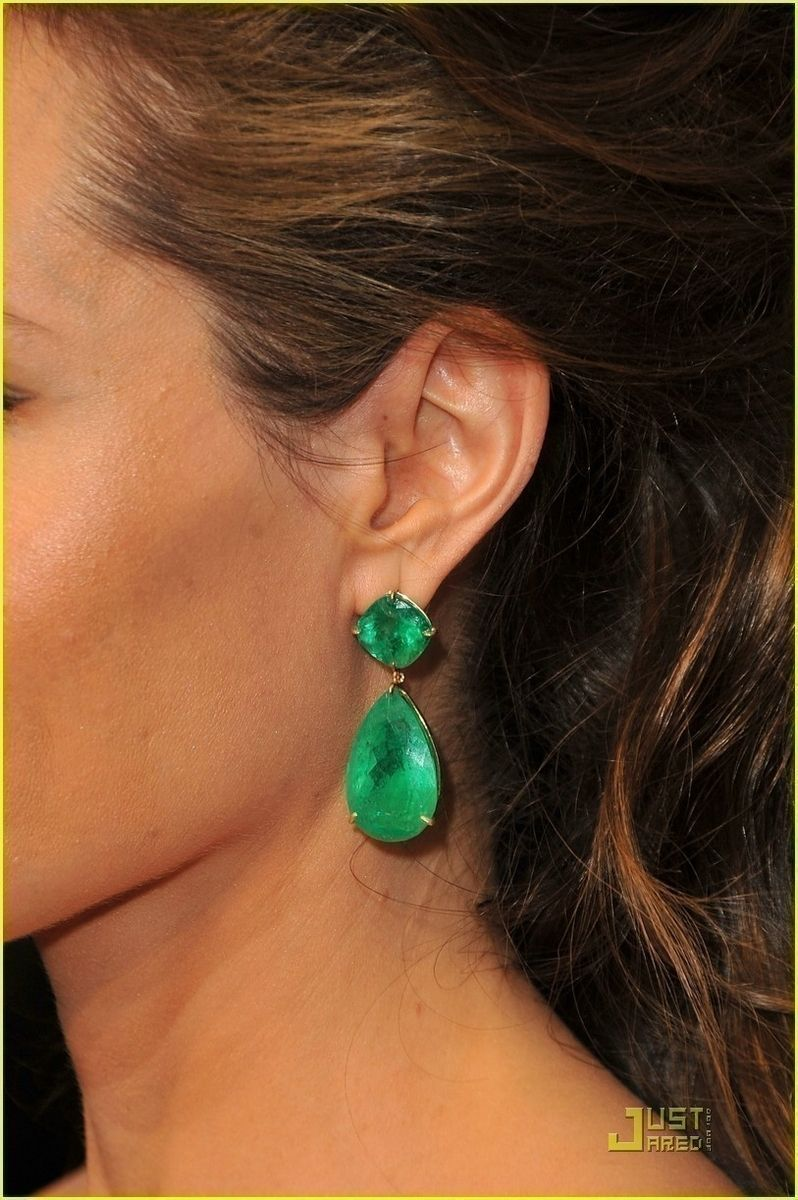 fa4f54690 Earrings - Emerald Green Earrings - Angelina Jolie Costume Earrings - Gold  Plated