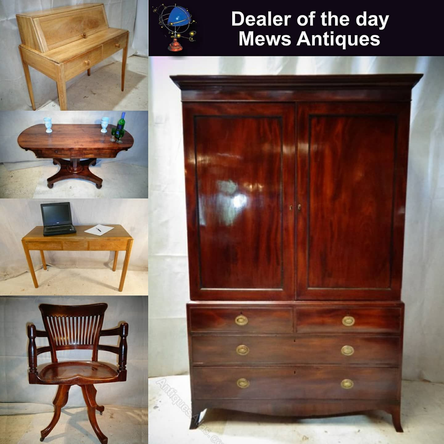 The Antiques Atlas dealer of the day today was 'Mews Antiques'  They are a family firm with over 30 years experience and have a large warehouse with viewing by appointment. Specialists in Antique Furniture. Located in Droitwich Spa, Worcestershire.  #antiquefurniture #antiquedesks #antiquedeskoffice #officedesk #deskideas #deskswivelchair  #antiquewardrobe