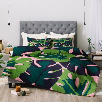 Deny Designs Zoe Wodarz Flamingo Loves Duvet Cover Queen