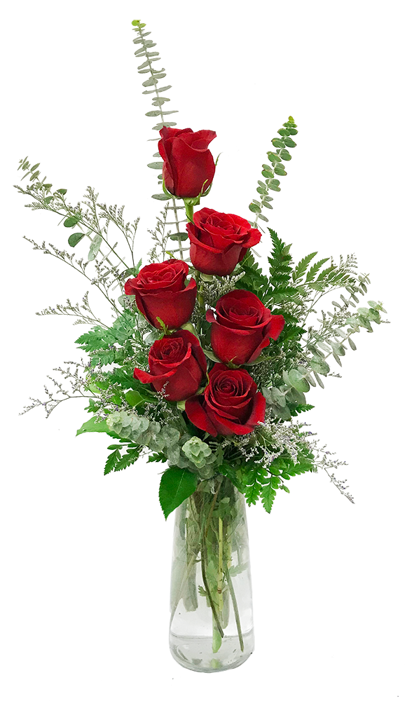 6 Roses In A Vase With Greenery And An Accent Flower Such As Misty Approximatel Valentines Flowers Valentine Flower Arrangements Flower Arrangements Simple