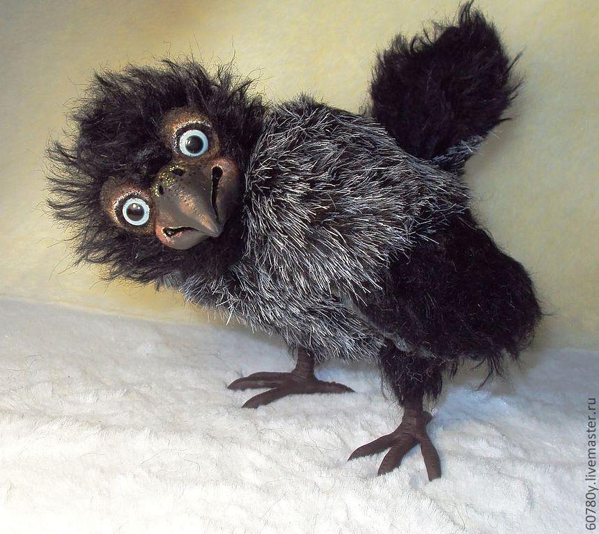 Купить Воронёнок Карлуша)) - чёрный, ворона, ворон, Воронёнок, птица, тедди, птенец, птенчик, птицы