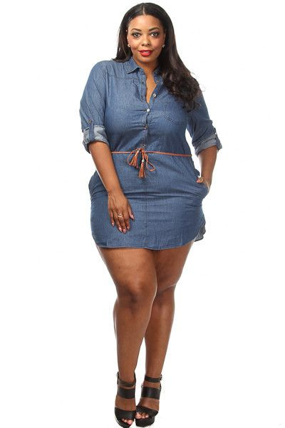 This hot plus size dress features a denim body, adjustable ...