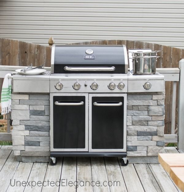 Diy grill station using probond advanced on backyards for Outdoor grill island ideas