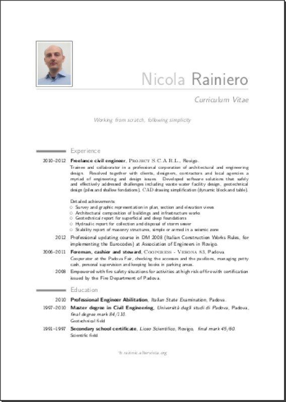 Alcuni template per il proprio CV con LaTeX Rainnic in the - engineering report template