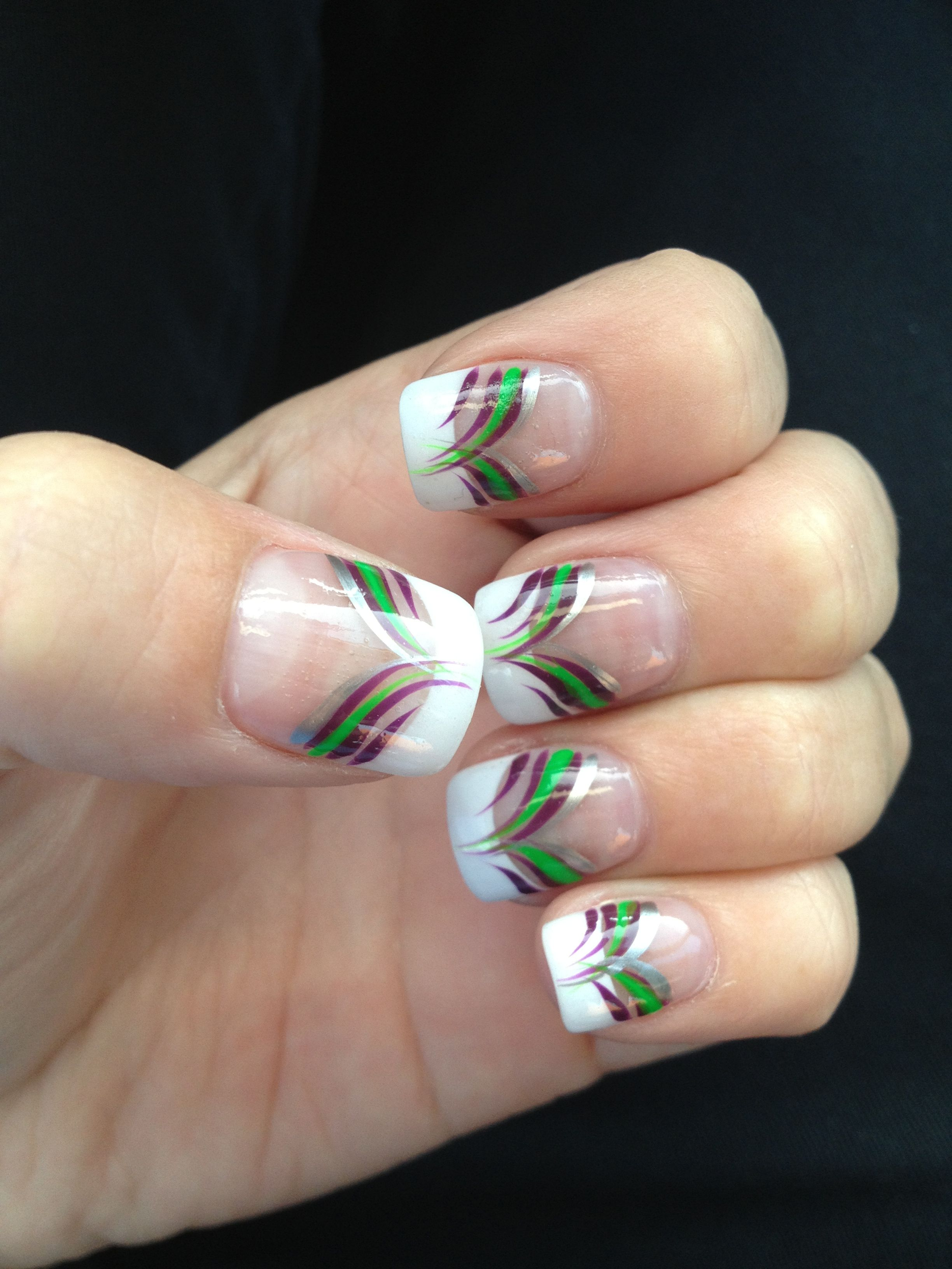 Joker inspired nails , green and purple ;)