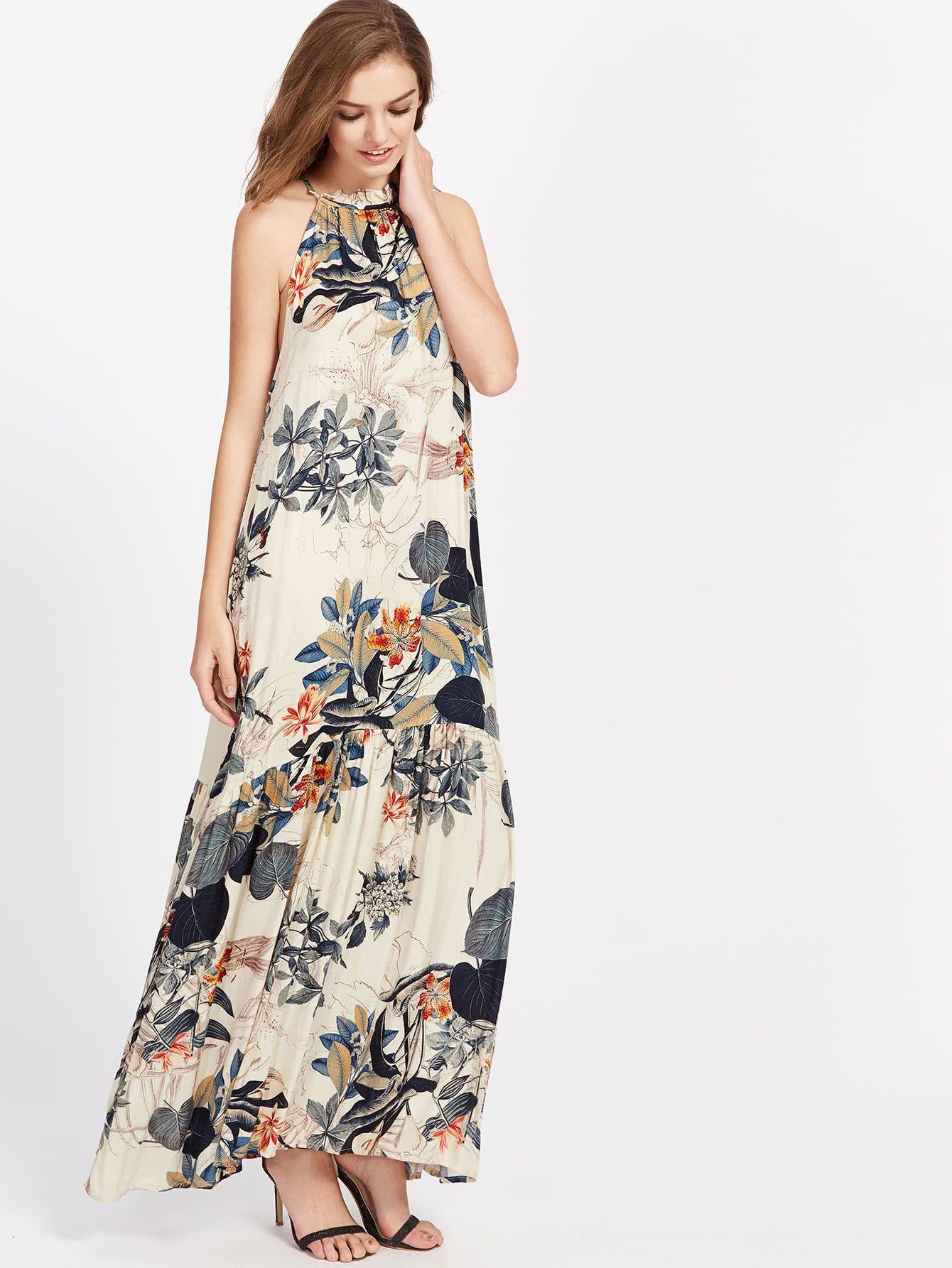 a2cb1b5c62b64 ¡Consigue este tipo de vestido informal de SheIn ahora! Haz clic para ver  los detalles. Envíos gratis a toda España. Tropical Print Frilled Halter  Neck ...