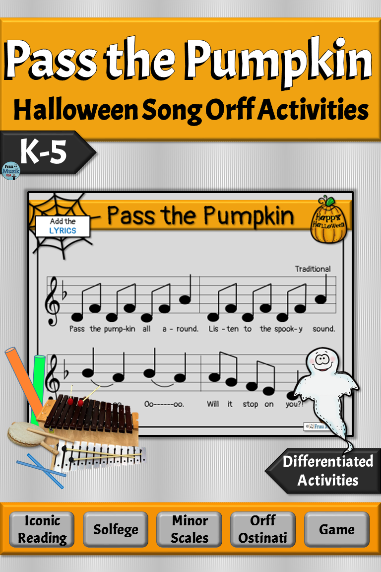 Halloween Song With Orff Arrangement Pass The Pumpkin Elementary Music Lessons Orff Activities Halloween Songs