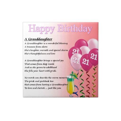 21st Birthday Granddaughter Poem Tile Zazzle Co Uk 21st Birthday Poems 21st Birthday Cards Birthday Poems