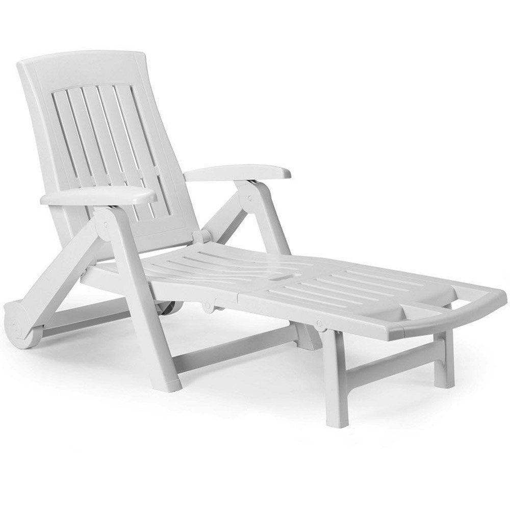 Plastic Sun Lounger With Wheels Durable Garden Furniture Uv