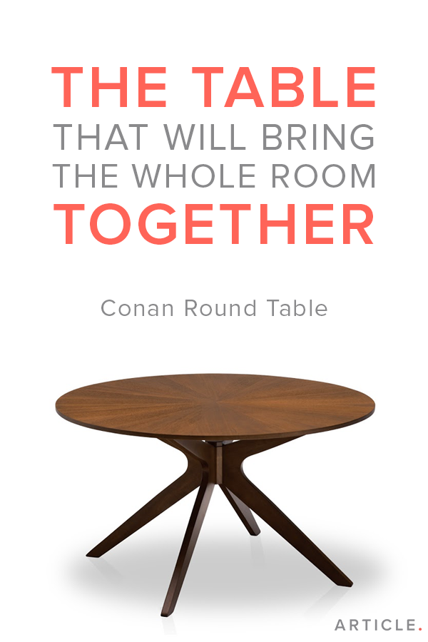 Round Dining Table 4 6 Person Walnut Finish Article Conan Modern Furniture Round Dining