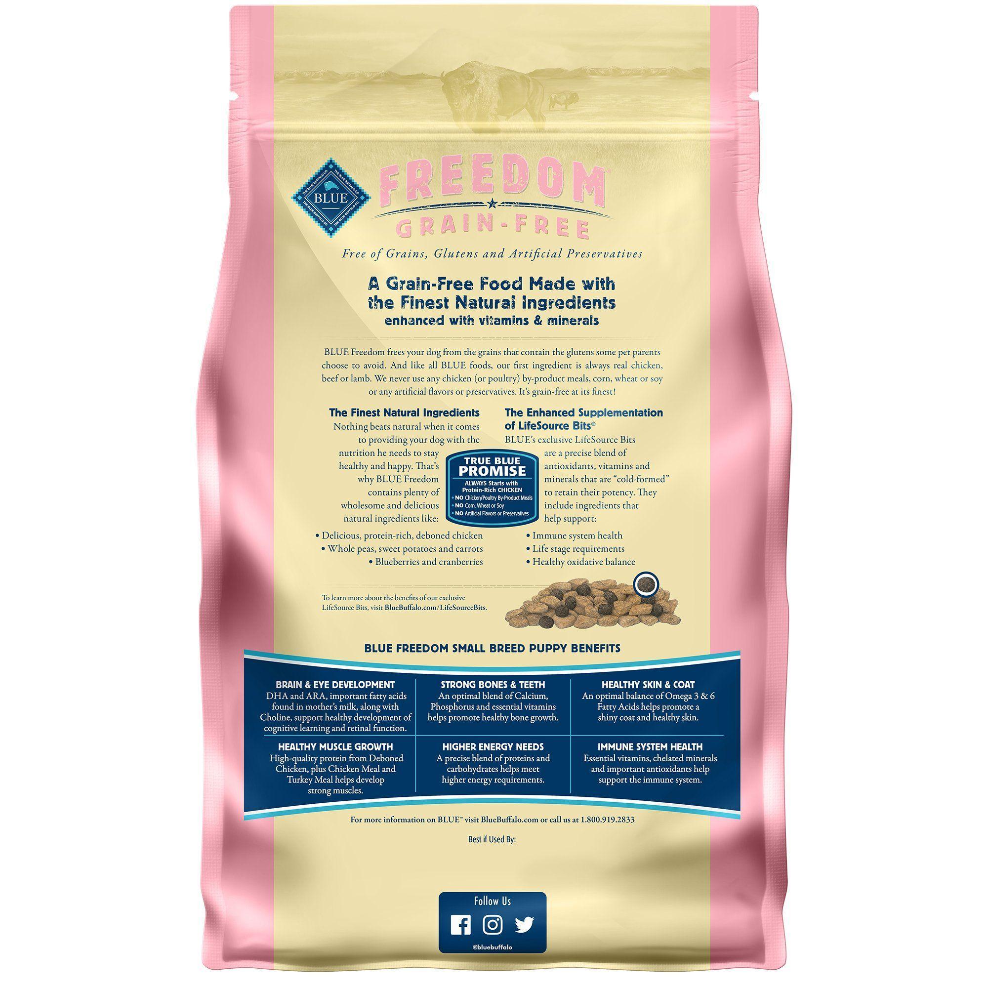 Blue Buffalo Blue Freedom Grain Free Small Breed Puppy Chicken Recipe Dry Dog Food 4 Lbs In 2020 Dry Cat Food Dry Dog Food Dog Food Recipes