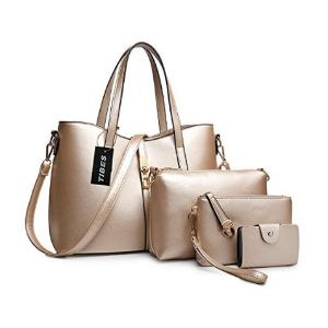 Leather Handbag+Shoulder Bag+Purse+Card Holder 4pcs Set Tote