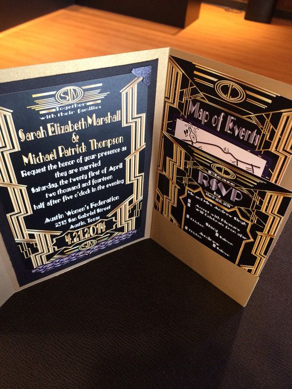 Great Gatsby Wedding Invitation And Rsvp Set By Scriptedeverafter