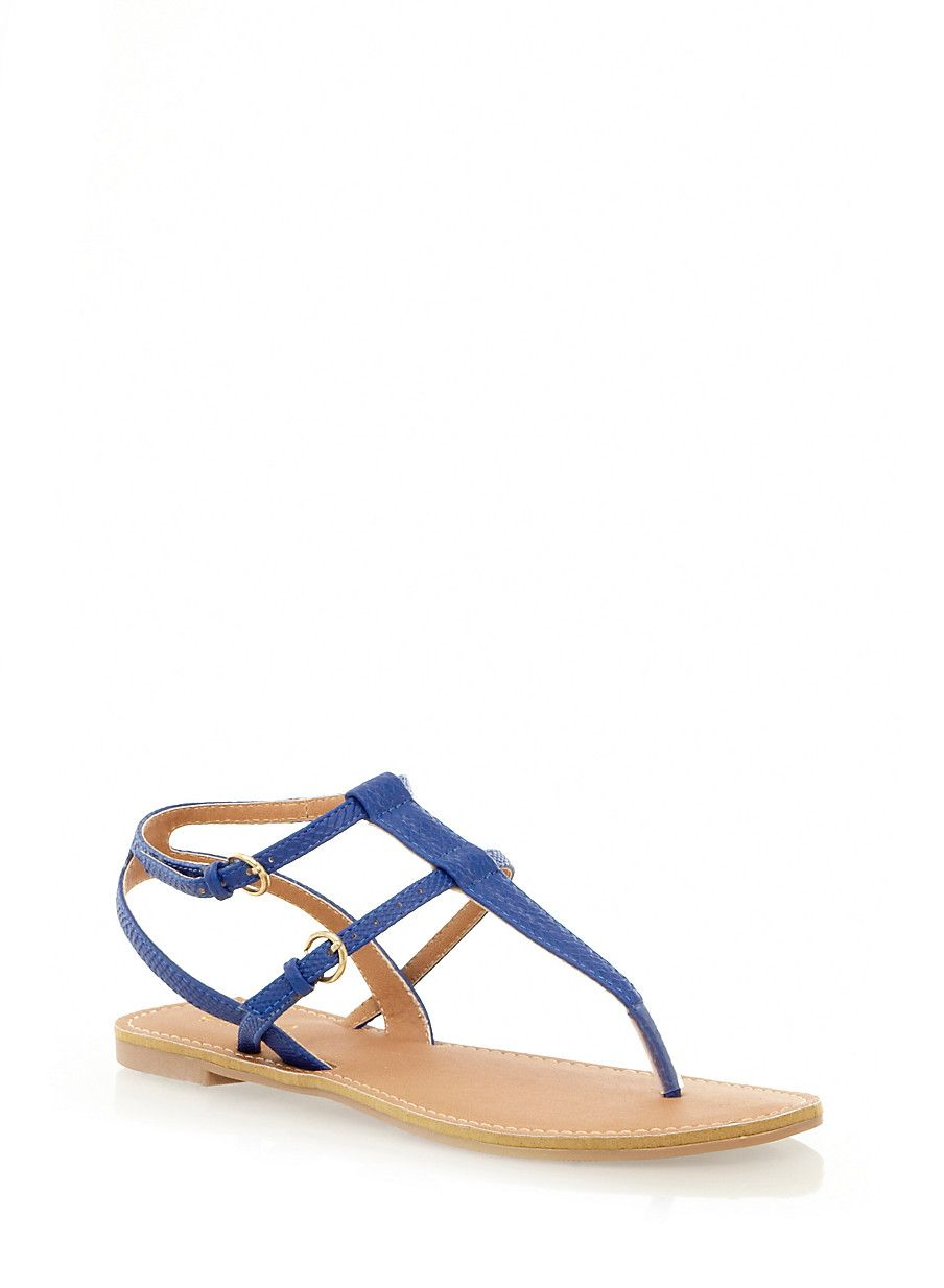 Rainbow Shops Faux Leather T-Strap Sandals with Double Buckle Closure $12.99