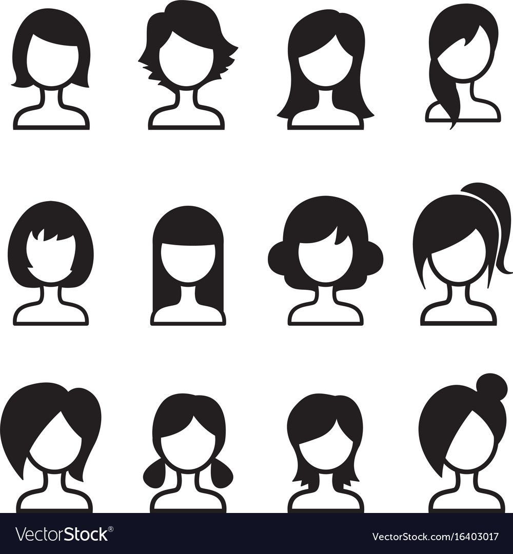 Woman Hair Style Icon Set Royalty Free Vector Image Aff Style Icon Woman Hair Ad In 2020 Clip Art Hair Clipart Library Icon