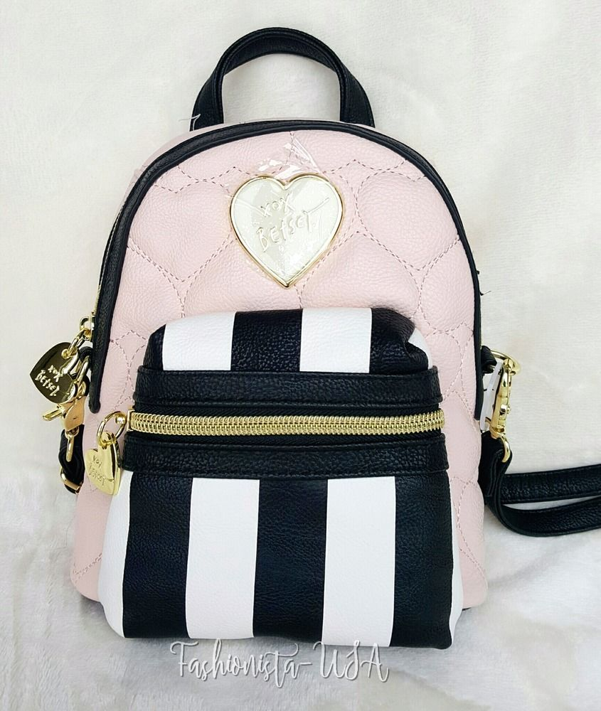 af0587d85be Betsey Johnson Mini Convertible Crossbody Backpack - BLUSH ...