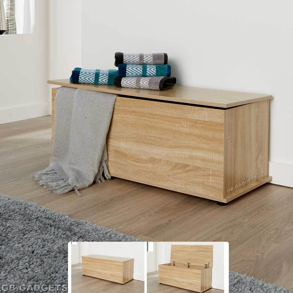 Wooden Ottoman Storage Box Chest Bench Seat Toy Beddin Blanket Trunk Cabinet Lid In Home Furniture Diy Ottomans Footstools Ebay