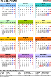 Kalender 2018 Pdf : kalender, Vorlage, Kalender, PDF-Datei,, Hochformat,, Seite,, Farbe, Calendar, Template,, Blank, Printable