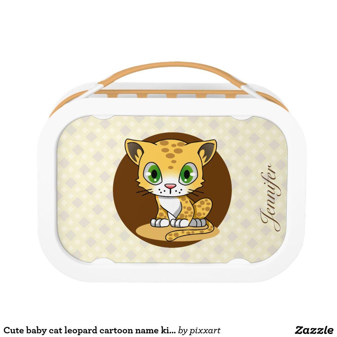 Cute Baby Cat Leopard Cartoon Name Kids Lunchbox Lunch Box Cute Baby Cats Kids Lunchbox