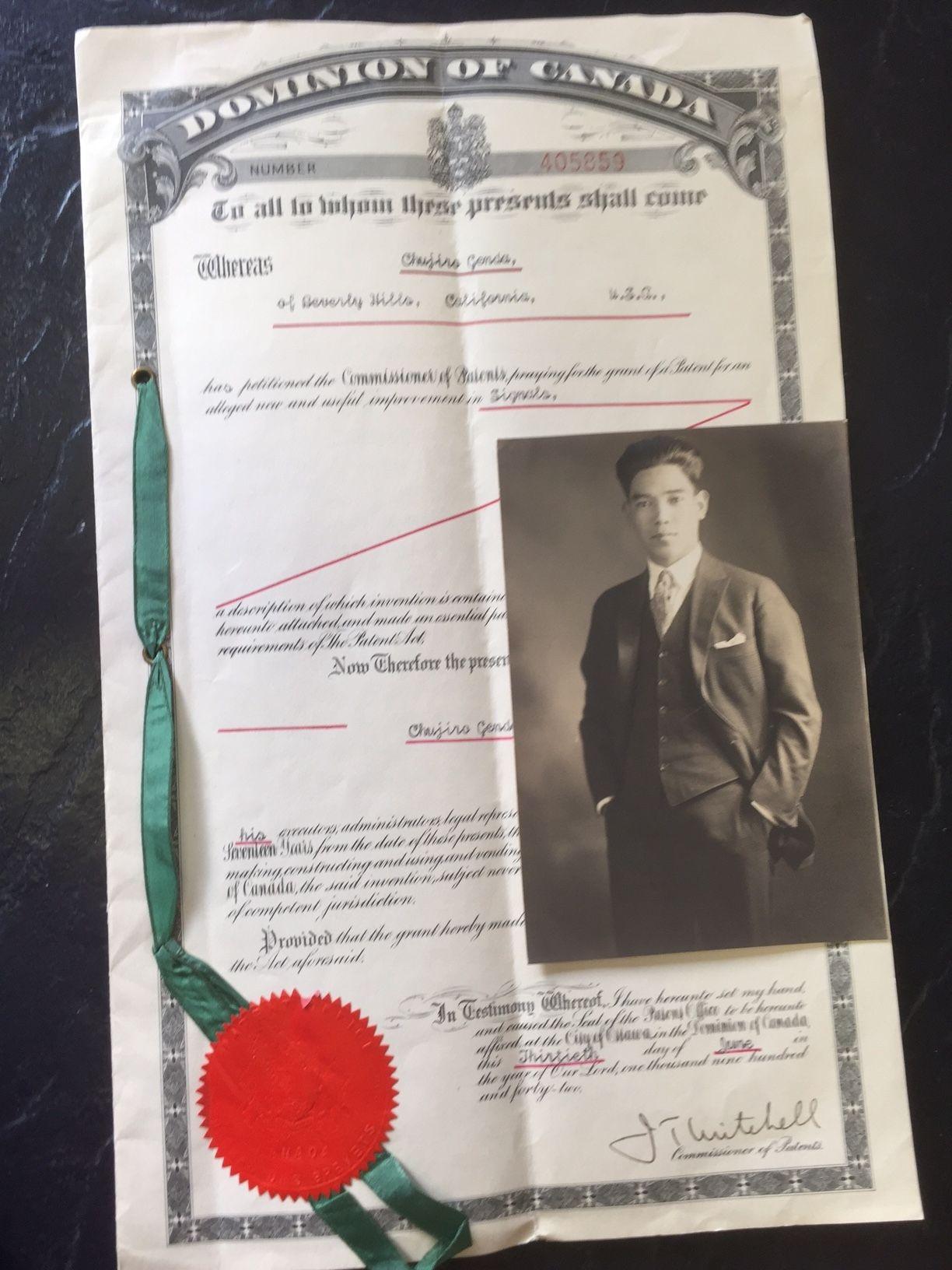 Chujiro Genda's Canadian patent for an automobile turn