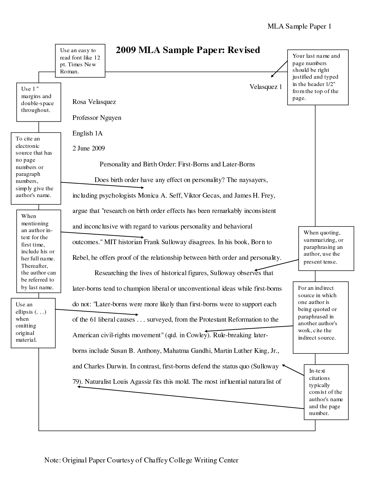 Standard Mla Format Example Mla Writing Format Sample Research Paper Essay Essay Format