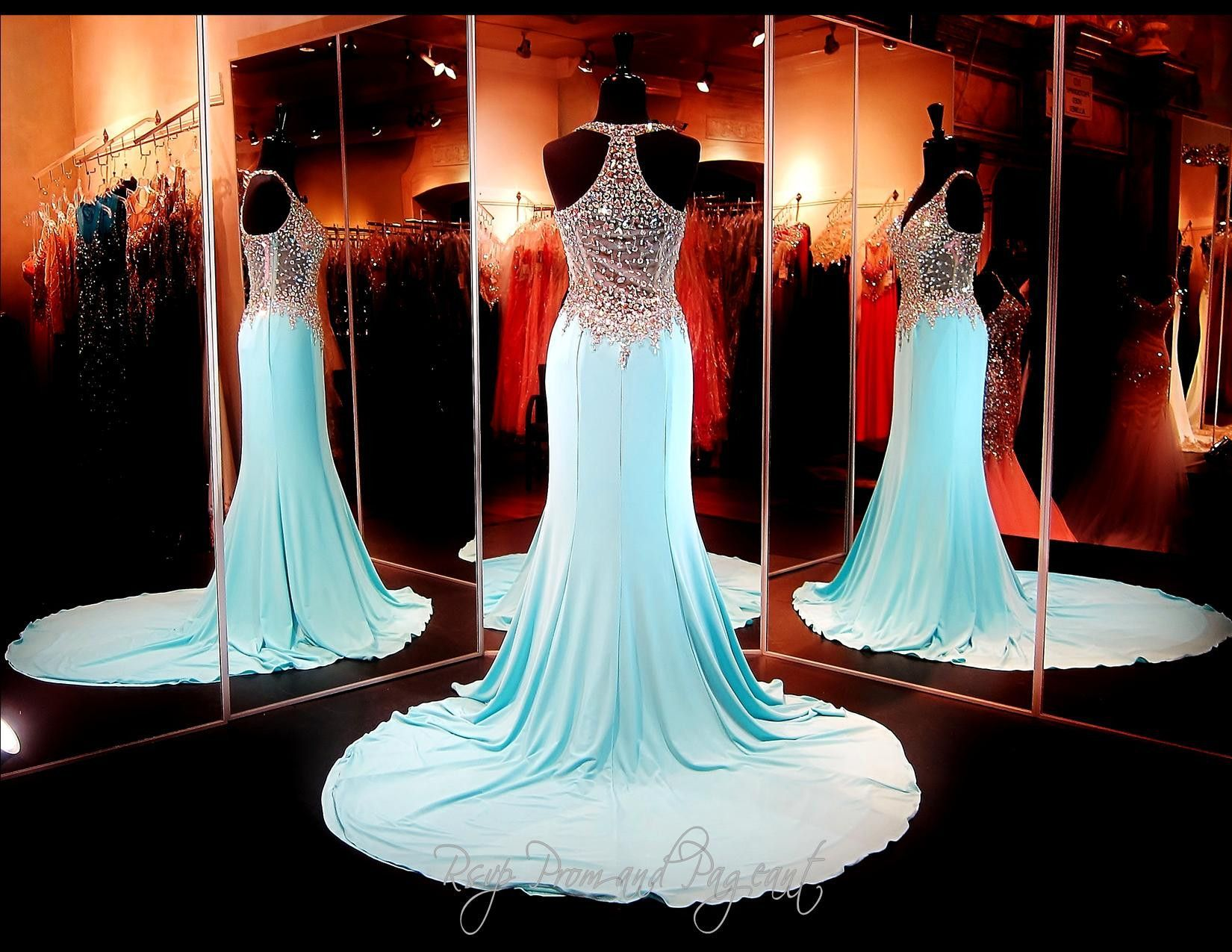 Aqua Jersey Formfitting Prom Dress-Completely Beaded Bodice-Straps ...