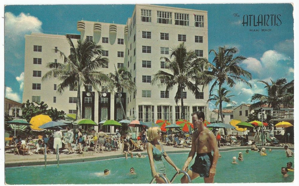 Miami Beach Fl Atlantis Hotel Pool Cabana Club Vintage Postcard