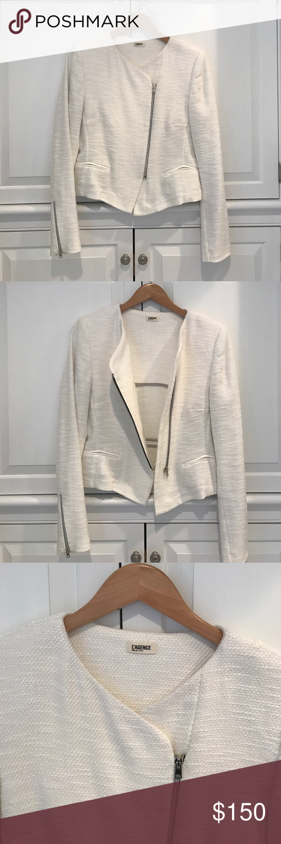 L'Agence Off-white Tweed Jacket L'Agence off-white tweed jacket; short fitted style with zipper details; unlined; cotton blend with a slight sheen; front pockets are still sealed; only worn once L'AGENCE Jackets & Coats