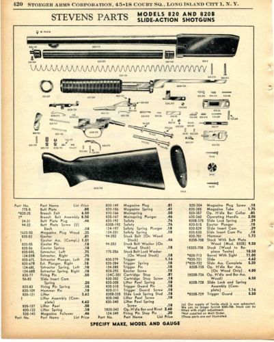 1956 Print Ad of Savage Stevens Model 820 & 820B Slide-Action