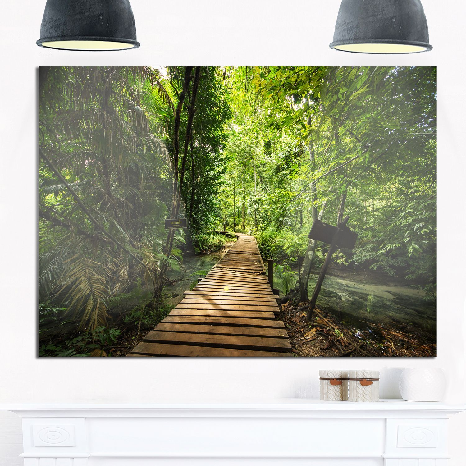 Forest way to emerald pool landscape photo glossy metal wall art