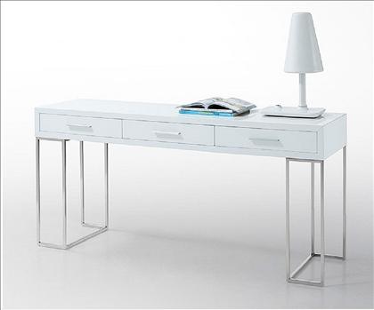 marvellous sleek modern contemporary home office desk design | Sleek White 3 Drawer Desk with Chrome Legs by J $695 ...