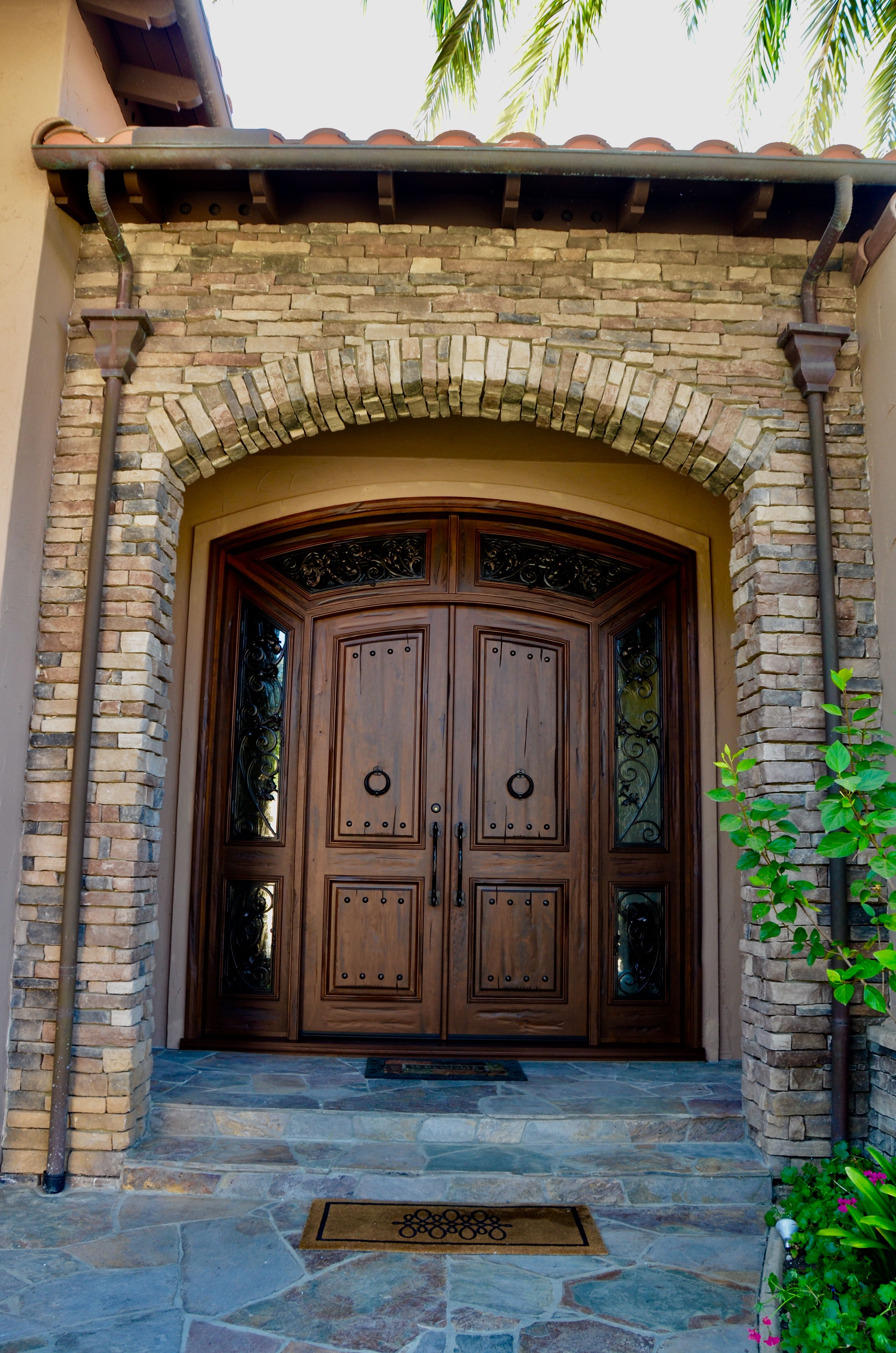 This Is A Grand Entrance San Diego Ca French Courtyard Custom Wood Doors Architectural Elements