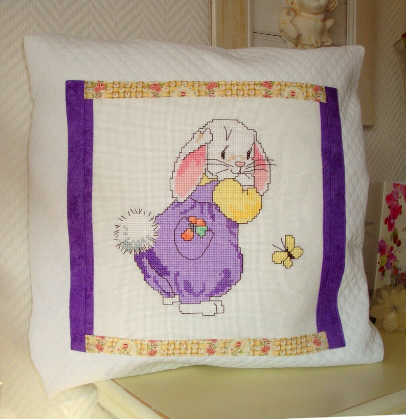 Embroidery Pillow Case The Girl Rabbit Cotton 40x40 Cm