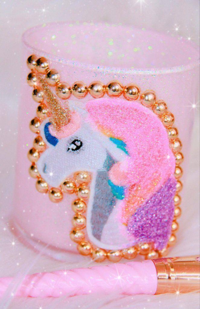 Photo of Unicorn pink glitter brush holder