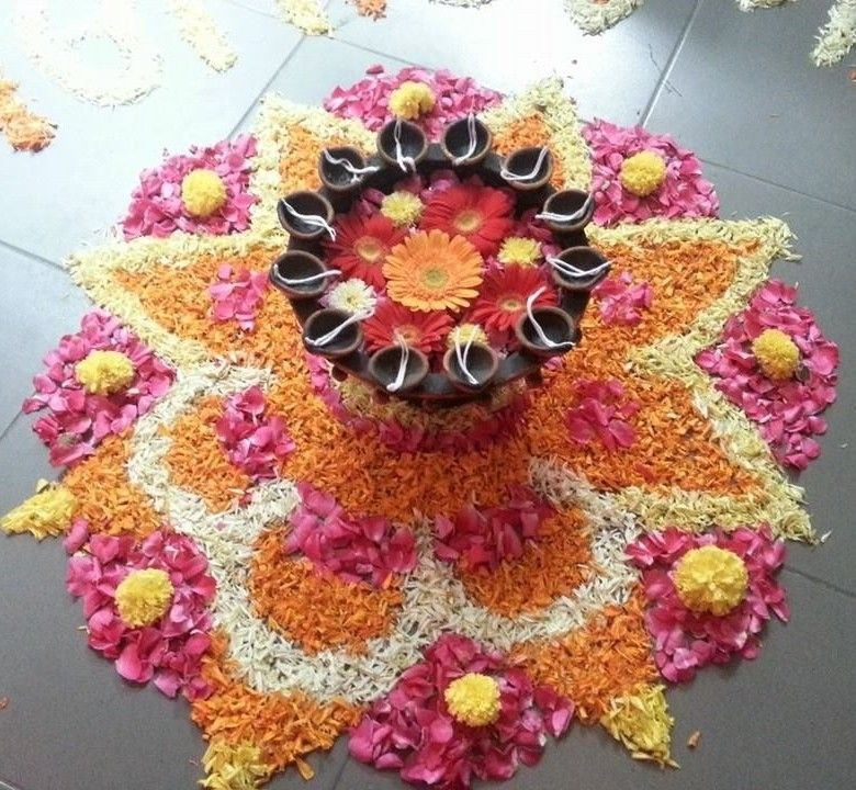 Diwali Rangoli Diwali decorations, Flower decorations