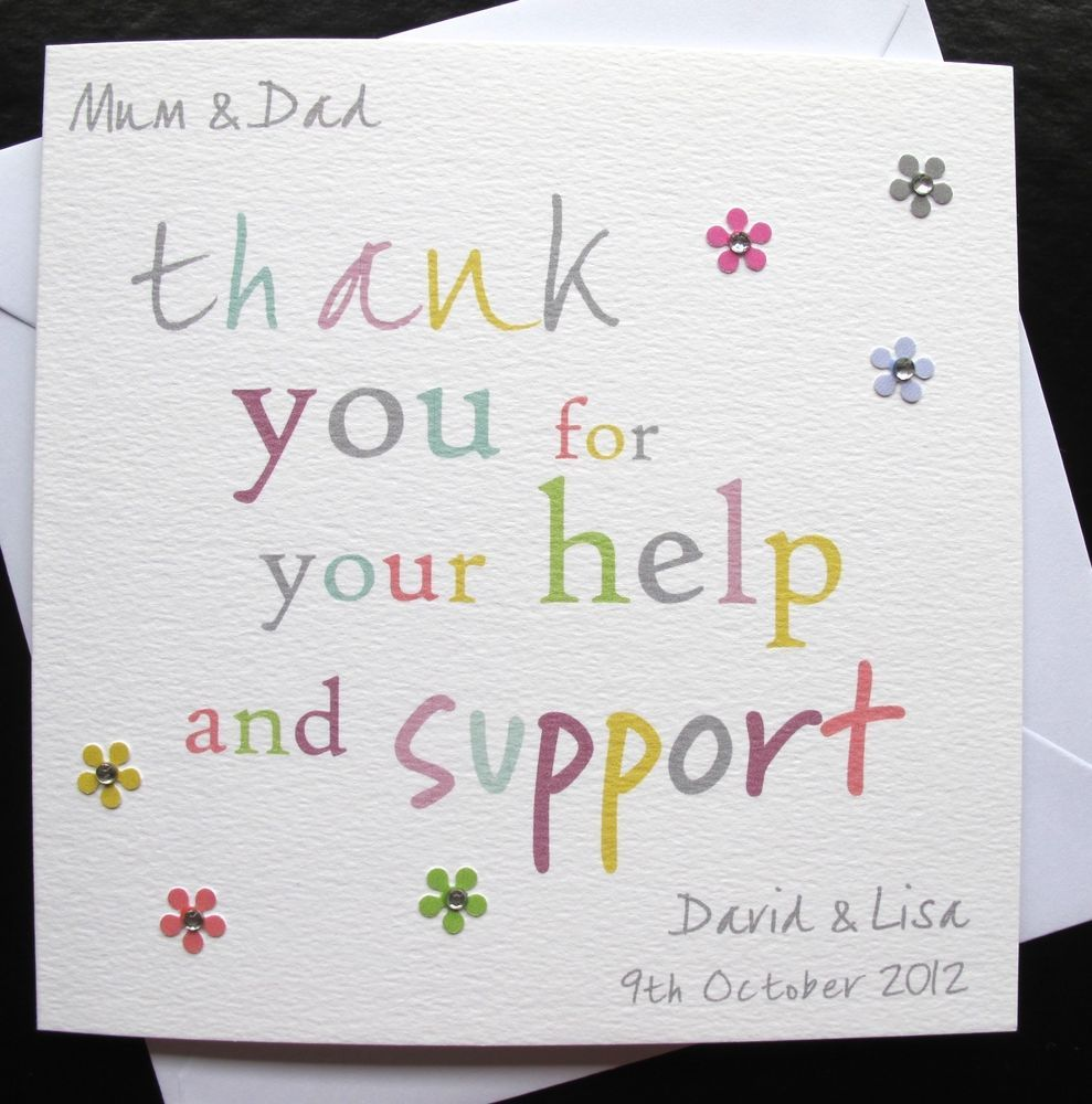 Personalised Handmade Thank You For Your Help And Support Card Mum