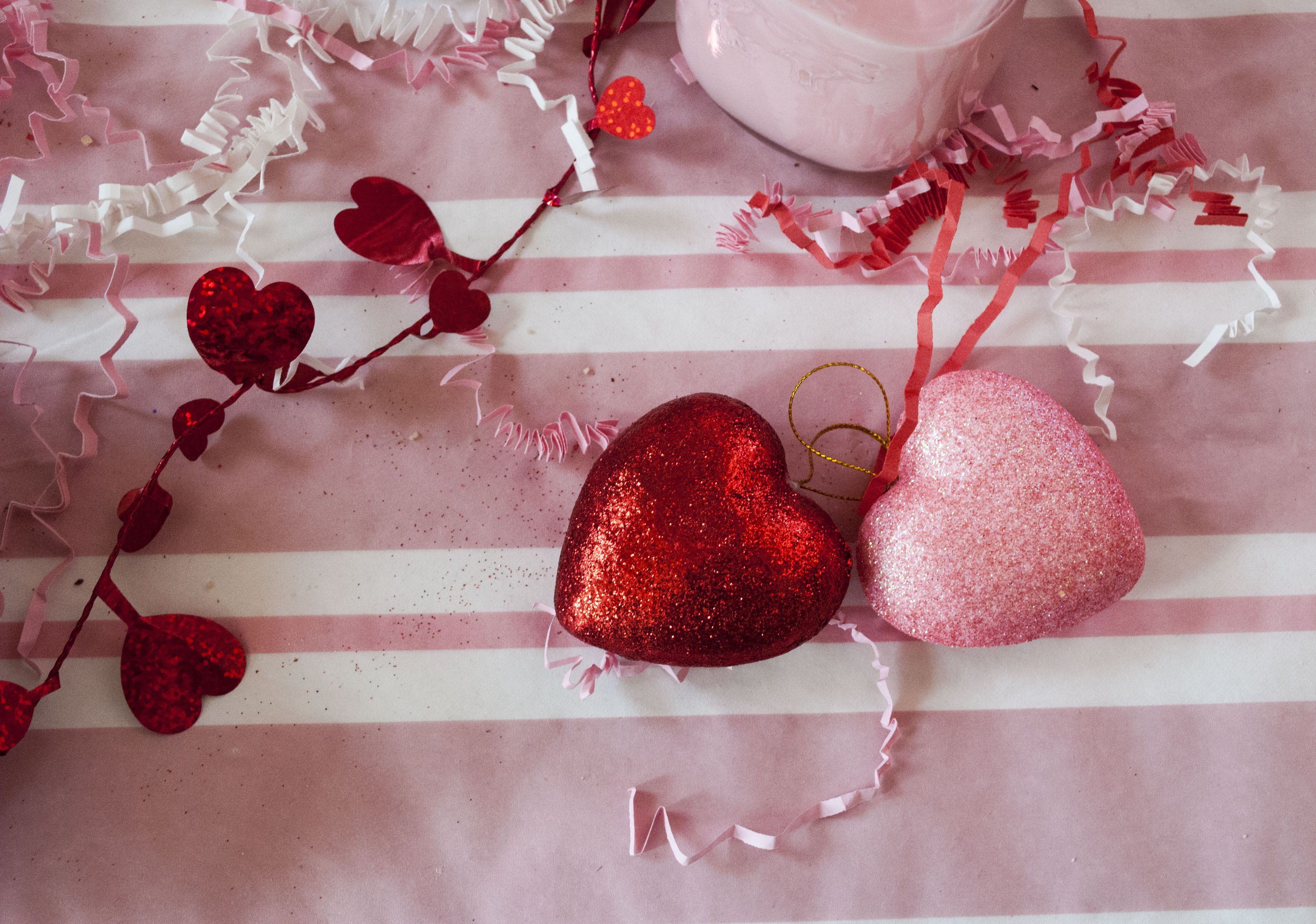 Valentine's Day Dessert Table Display; Decorative Hearts