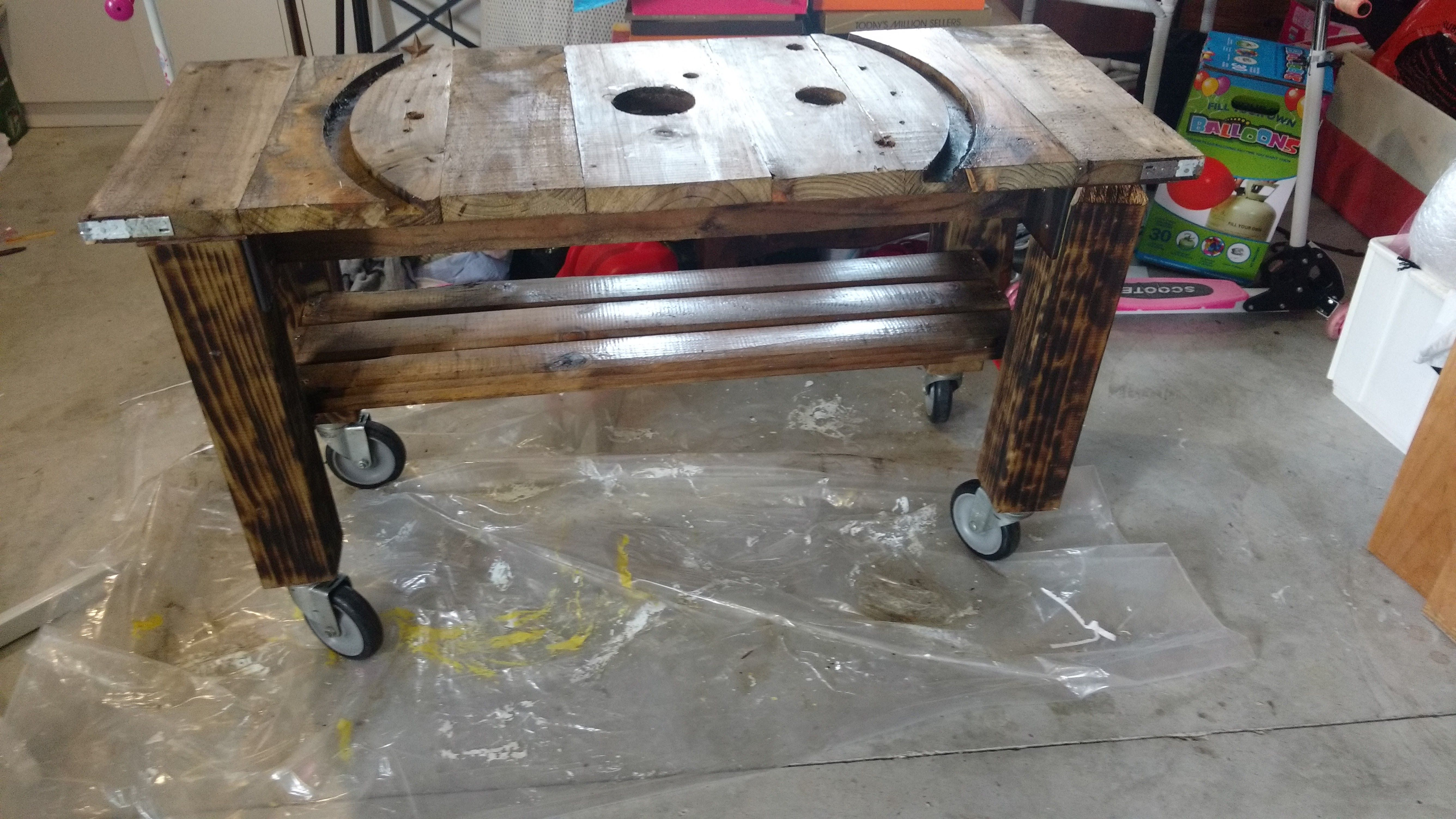 Upcycled cable drum- console table on industrial wheels | My DIY ...