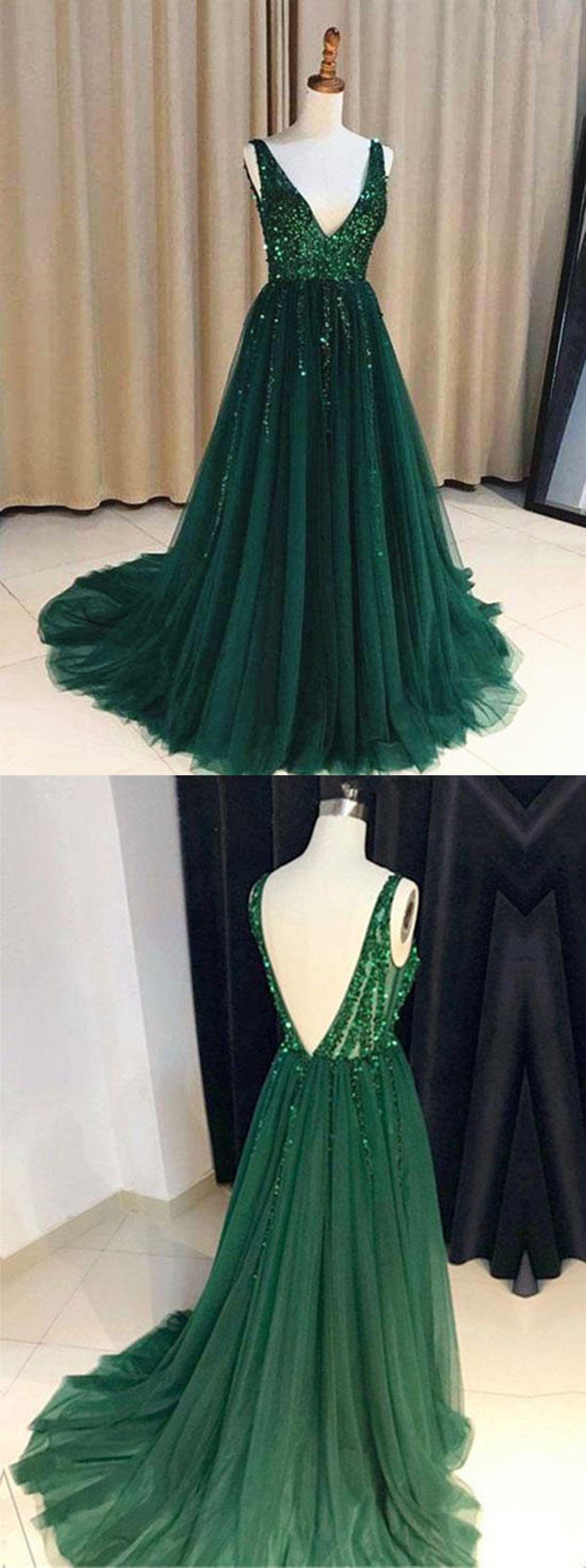 Custom made a line v neck emerald green backless prom