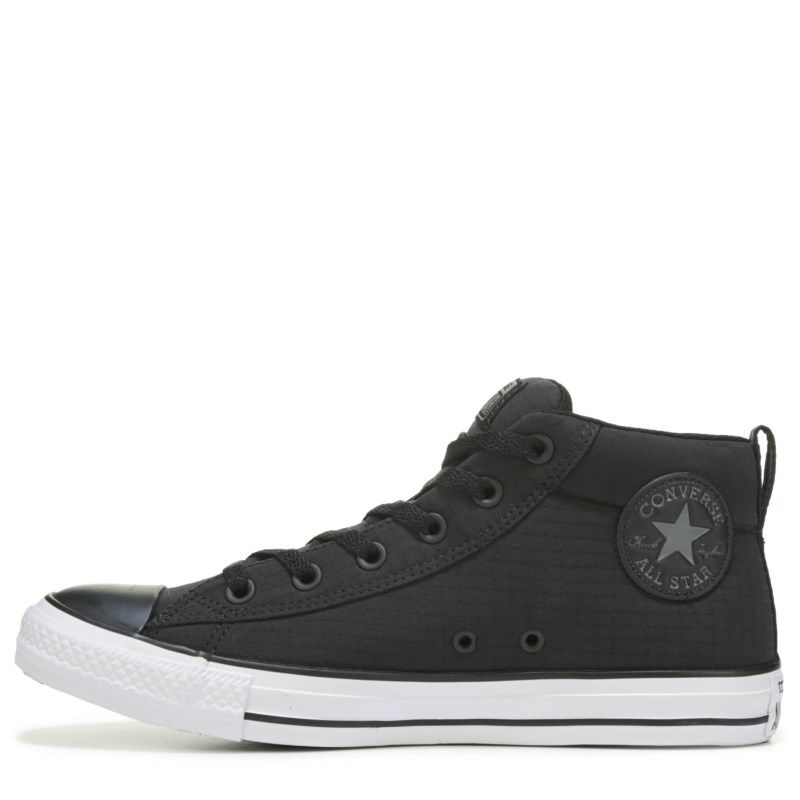 5e33d254d68 Converse Men s Chuck Taylor All Star Street Ripstop Mid Top Sneakers (Black  White Nylon)