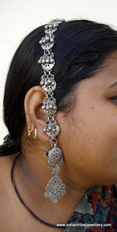 India Pair Of Old Tribal Silver Earrings Tokariya With Head
