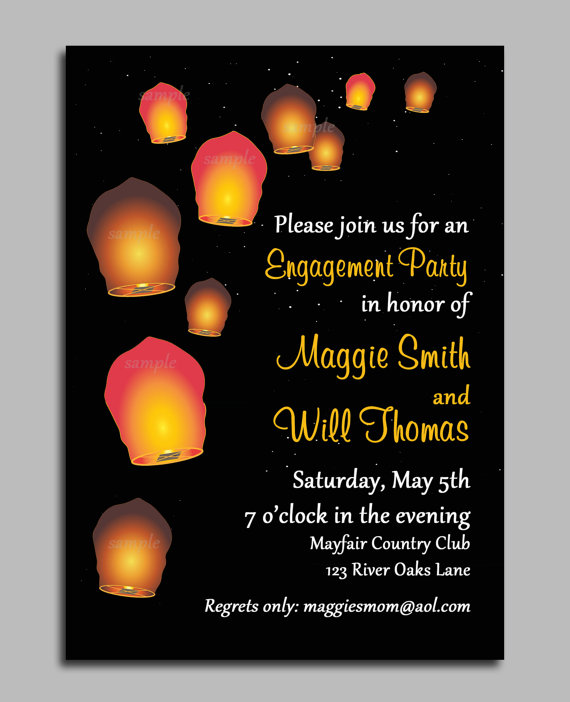 Sky Paper Lantern Invitation Printable or Printed with FREE - free engagement party invites