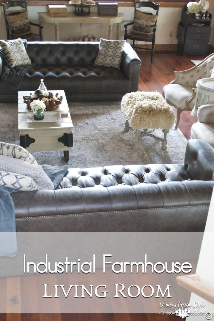 Industrial Farmhouse Living Room With Images Industrial